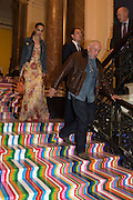 CATHERINE BAILEY; DAVID BAILEY ON LIAM GILLICK STAIRCASE, Royal Academy Summer exhibition private view. Piccadilly. London. 3 June 2015