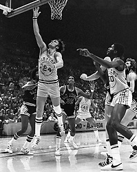 Golden State Warrior Rick Barry scores against the <br />San Antonio Spurs (1976 photo/Ron Riesterer)
