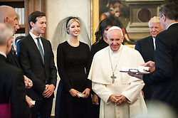 NO FRANCE - NO SWITZERLAND: May 24, 2017 : U.S. President Donald Trump and first lady Melania meet Pope Francis during a meeting at the Vatican.
