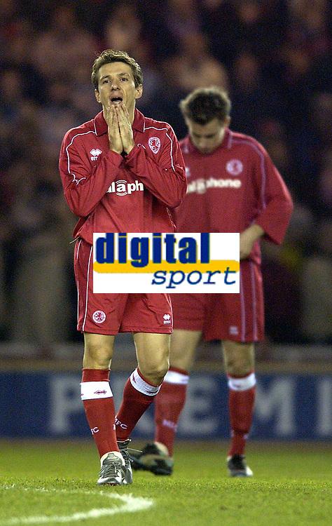 Photo. Jed Wee<br />Middlesbrough v Bradford Reserves, The Riverside, Middlesbrough. 25/02/2003.<br />Please let me stay injury-free! Middlesbrough's Juninho (L) makes his long awaited return.