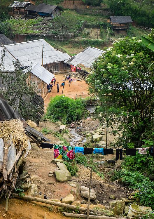 SAPA, VIETNAM - CIRCA SEPTEMBER 2014:  Typical village in the mountains in Sapa, north Vietnam.