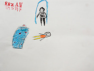 """""""A mother comes into her house to find one child dead, the other one crying. The girl's name (at the top) is bleeding."""" Drawing by Syrian girl, age 13. (Topic for this session: dealing with loss.)"""