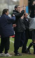 Photo: Paul Thomas. Kidderminster Harriers v Yeovil Town, Aggborough Stadium, Kidderminster. 16/04/2005. Kidderminster manager Stuart Watkiss tries to get one for goal for a win.