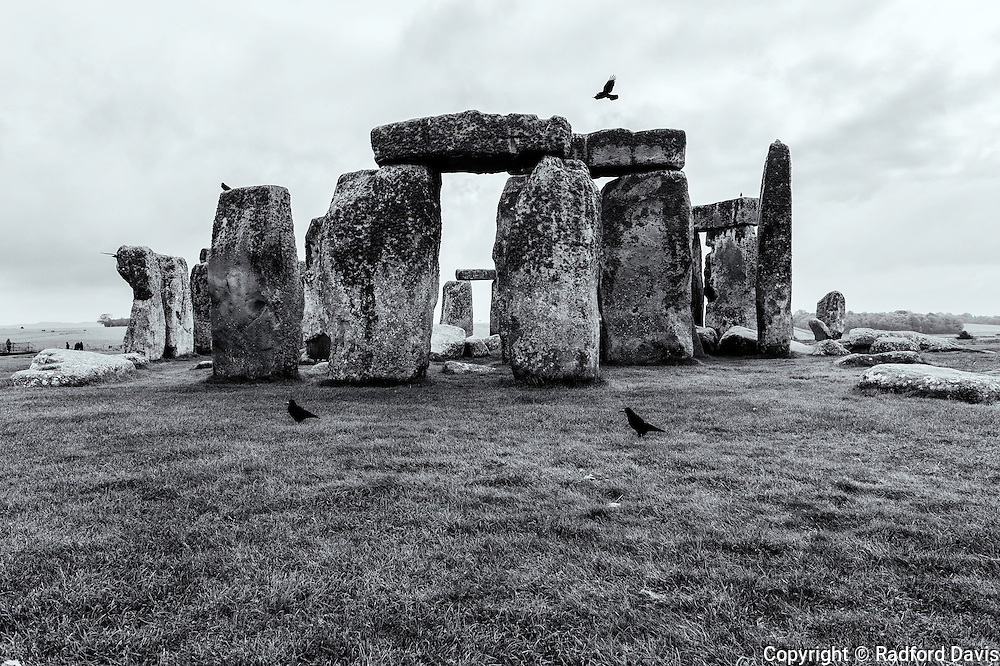 Stonehenge, England. Black and white.