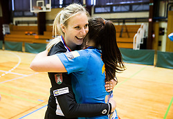 Misa Marincek of RK Krim Mercator and Nina Zulic of RK Krim Mercator celebrate after the handball match between RK Krim Mercator and ZRK Z'Dezele Celje in Last Round of Slovenian National Championship 2016/17, on April 18, 2017 in Arena Galjevica, Ljubljana, Slovenia. Photo by Vid Ponikvar / Sportida