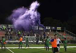 06 June 2015. New Orleans, Louisiana.<br /> National Premier Soccer League. NPSL. <br /> The Royal Court, Jesters fans at the Pan Am stadium after the New Orleans Jesters take on Chattanooga FC in a Conference game at home in the Pan American Stadium. Chattanooga take a 4-0 victory over the Jesters.<br /> Photo; Charlie Varley/varleypix.com