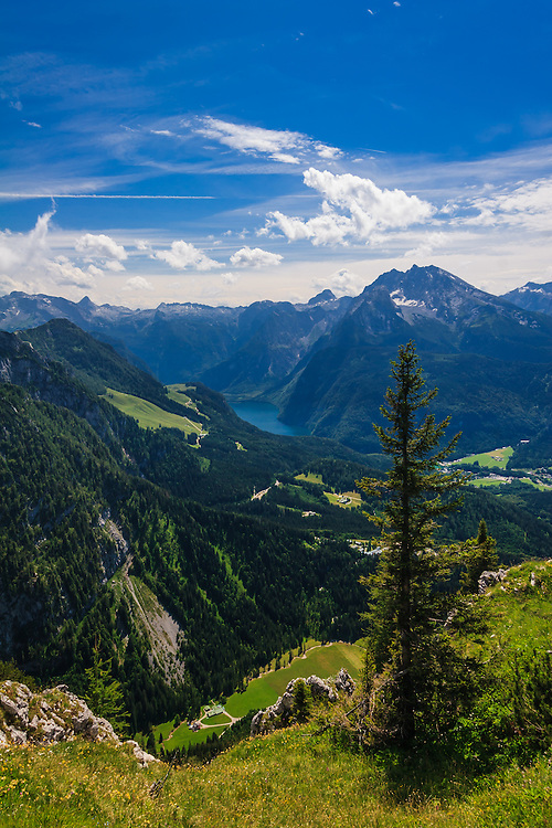 Königsee as seen from Kehlstein in Obersalzberg, Germany. Steeply rising alpine mountains, including the fabled Watzmann on the right, surround the lake.