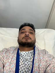 Amazon delivery driver Husam Aljuburi, 29, of Ealing, West London, lies in hospital after he lost the top quarter of his middle finger, tearing it off in a letterbox as he delivered a parcel at a home in Slough. London, April 09 2019.