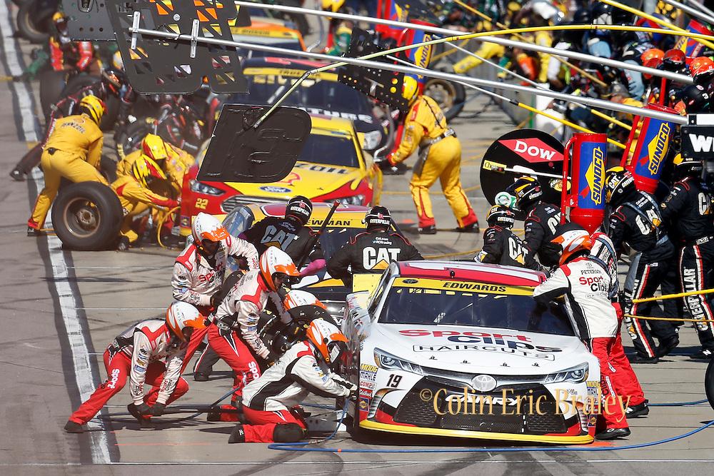 NASCAR Sprint Cup Series auto racing driver ___ at Kansas Speedway in Kansas City, Kan., Sunday, Oct. 18, 2015. (AP Photo/Colin E. Braley)
