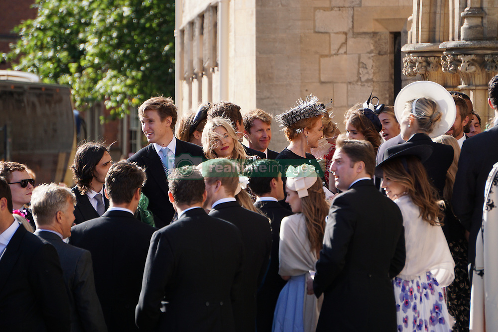 Ellie Goulding is seen leaving York Minster with her new husband Caspar Jopling following their marriage ceremony today. The <br />  wedding was attended by many famous faces including Princess Beatrice, Princess Eugenie, Sarah Ferguson, Duchess of York, James Blunt and Sienna Miller.<br />