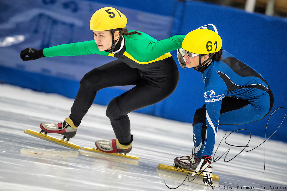 March 18, 2016 - Verona, WI - Mei Fredeen, skater number 51 and Stephanie Velez, skater number 61 compete in US Speedskating Short Track Age Group Nationals and AmCup Final held at the Verona Ice Arena.