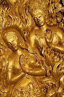 Laos, Province de Luang Prabang, ville de Luang Prabang, Patrimoine mondial de l'UNESCO depuis 1995, temple doré Wat Xieng Thong, detail de la porte // Laos, Luang Prabang province, city of Luang Prabang, World heritage of UNESCO since 1995, Wat Xieng Thong, door detail