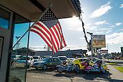 Saturday morning at the car lot, waiting for customers. Port Angeles, WA