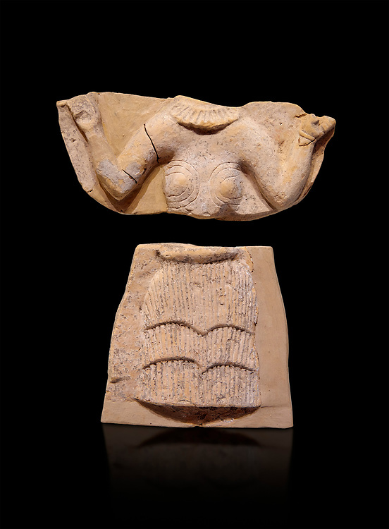 Minoan Postpalatial terracotta  goddess tablet with raised arms, Kannia Sanctuary,  Gortys, 1350-1250 BC, Heraklion Archaeological Museum, black background. <br /> <br /> The Goddesses are crowned with symbols of earth and sky in the shapes of snakes and birds, describing attributes of the goddess as protector of nature. .<br /> <br /> If you prefer to buy from our ALAMY PHOTO LIBRARY  Collection visit : https://www.alamy.com/portfolio/paul-williams-funkystock/minoan-art-artefacts.html . Type -   Heraklion   - into the LOWER SEARCH WITHIN GALLERY box. Refine search by adding background colour, place, museum etc<br /> <br /> Visit our MINOAN ART PHOTO COLLECTIONS for more photos to download  as wall art prints https://funkystock.photoshelter.com/gallery-collection/Ancient-Minoans-Art-Artefacts-Antiquities-Historic-Places-Pictures-Images-of/C0000ricT2SU_M9w