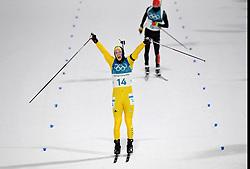 February 12, 2018 - Pyeongchang, SOUTH KOREA - 180212  Sebastian Samuelsson of Sweden celebrates his silver medal Men's Biathlon 12,5km Pursuit during day three of the 2018 Winter Olympics on February 12, 2018 in Pyeongchang..Photo: Jon Olav Nesvold / BILDBYRÃ…N / kod JE / 160157 (Credit Image: © Jon Olav Nesvold/Bildbyran via ZUMA Press)