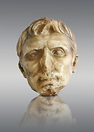 Roman sculpture of the Emperor Augustus, excavated from El-Jem, sculpted circa 27BC-14AD The Bardo National Museum, Tunis, Inv No: C. 72 .<br /> <br /> If you prefer to buy from our ALAMY STOCK LIBRARY page at https://www.alamy.com/portfolio/paul-williams-funkystock/greco-roman-sculptures.html . Type -    BARDO    - into LOWER SEARCH WITHIN GALLERY box - Refine search by adding a subject, place, background colour, museum etc.<br /> <br /> Visit our CLASSICAL WORLD HISTORIC SITES PHOTO COLLECTIONS for more photos to download or buy as wall art prints https://funkystock.photoshelter.com/gallery-collection/The-Romans-Art-Artefacts-Antiquities-Historic-Sites-Pictures-Images/C0000r2uLJJo9_s0c