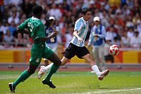 Fotball<br /> OL 2008 Beijing<br /> Finale<br /> Argentina v Nigeria 1-0<br /> Foto: Inside/Digitalsport<br /> NORWAY ONLY<br /> <br /> Angel Di Maria of Argentina scores the decisive goal during the Olympic Games final. Argentina beats Nigeria 1-0 and won the gold medal
