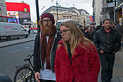 Red beard and a red coat in London, England, United Kingdom. (photo by Mike Kemp/In Pictures via Getty Images)