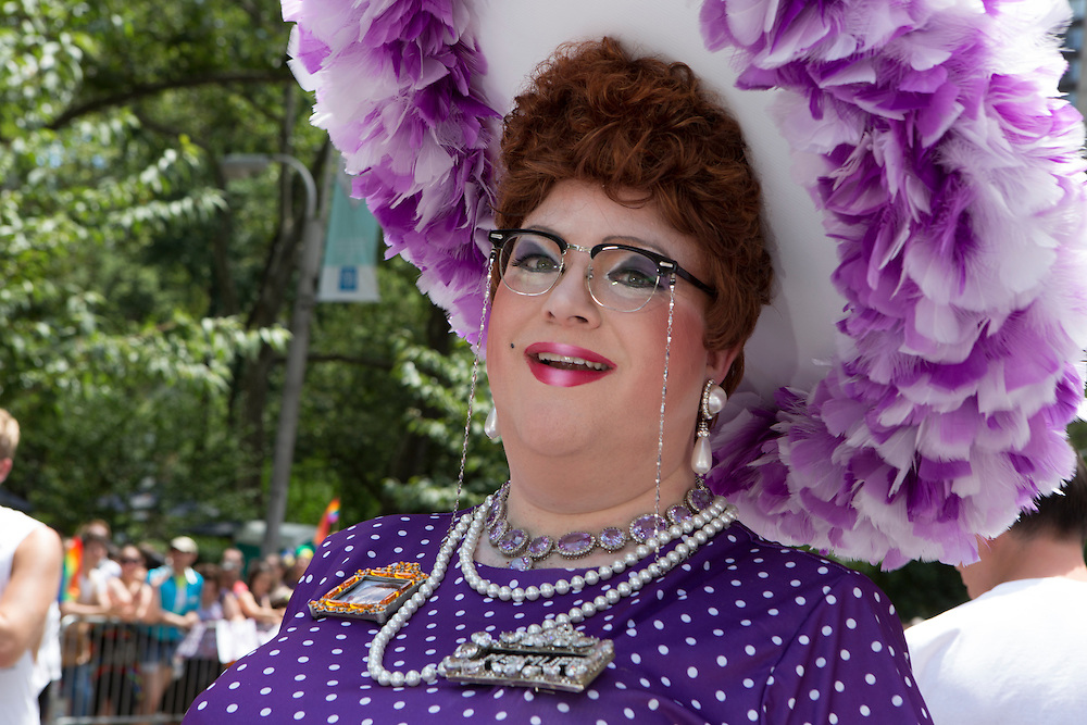 Ms Muffy, wearing purple.