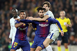 March 14, 2018 - Barcelona, Spain - ANDRE GOMES of FC Barcelona and MARCOS ALONSO of Chelsea FC during the UEFA Champions League, round of 16, 2nd leg football match between FC Barcelona and Chelsea FC on March 14, 2018 at Camp Nou stadium in Barcelona, Spain (Credit Image: © Manuel Blondeau via ZUMA Wire)
