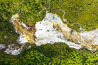 Aerial view of Orakei Korako Geothermal Park, New Zealand.