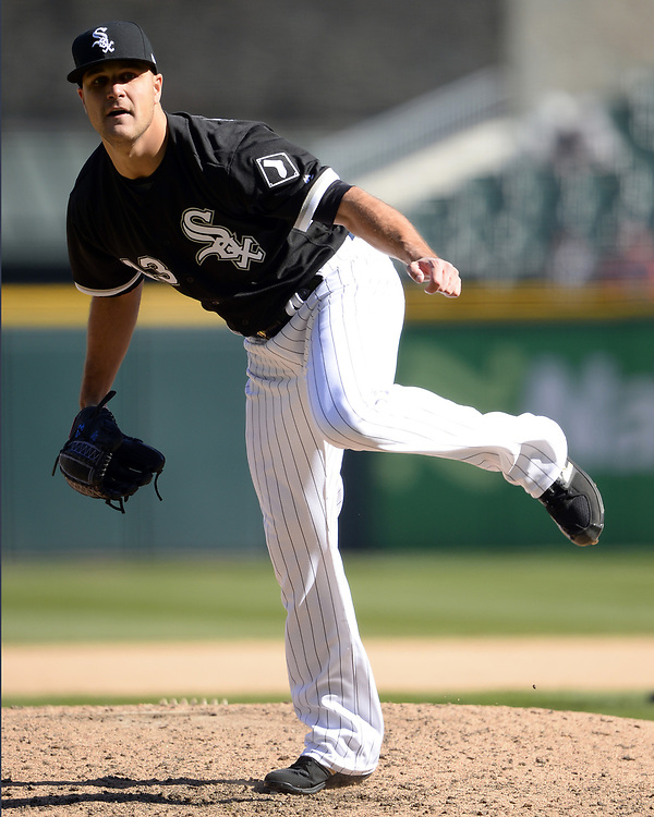 CHICAGO - APRIL 06:  Dan Jennings #43 of the Chicago White Sox bats against the Detroit Tigers on April 6, 2017 at Guaranteed Rate Field in Chicago, Illinois.  The White Sox defeated the Tigers 11-2.  (Photo by Ron Vesely)   Subject:  Dan Jennings