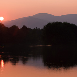 Sunset over the Androscoggin River in Bethel, Maine.