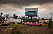 Pink Lincoln Limousine parked by the roadside on 5th March 2020 in Alford, Alabama, United States of America.