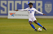 St. Louis University defender Daniel Moore sends the ball downfield. St. Louis University played the University of Missouri - Kansas City in men's soccer on February 3, 2021 at Robert Hermann Stadium on the SLU campus in St. Louis, MO.<br /> Tim Vizer/For the Post-Dispatch