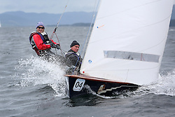 The Flying Dutchman World Championships,  Largs 2014. First days racing in breezy conditions on the Clyde. <br /> <br /> GBR 310, Chris Nicol and Dawn McCrae<br /> The former Olympic class has attract 40 worldwide competitors to Scotland to compete. <br /> <br /> PIctures Marc Turner / PFM Pictures