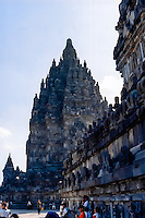 Java, Central Java, Prambanan. Candi Shiva Mahadeva, Loro Jonggrang, in the background.