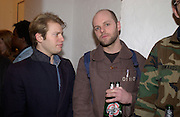 Gavin turk, Opening of Carl Freidman's Counter Editions, Charlotte Rd. 11 March 2003. © Copyright Photograph by Dafydd Jones 66 Stockwell Park Rd. London SW9 0DA Tel 020 7733 0108 www.dafjones.com