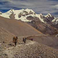 Trekkers cross Thorang La Pass, north of Annapurna in Nepal.