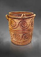 Minoan  bridge spouted jars decorated with swirls, Archanes Palace  1600-1450 BC; Heraklion Archaeological  Museum, grey background. .<br /> <br /> If you prefer to buy from our ALAMY PHOTO LIBRARY  Collection visit : https://www.alamy.com/portfolio/paul-williams-funkystock/minoan-art-artefacts.html . Type -   Heraklion   - into the LOWER SEARCH WITHIN GALLERY box. Refine search by adding background colour, place, museum etc<br /> <br /> Visit our MINOAN ART PHOTO COLLECTIONS for more photos to download  as wall art prints https://funkystock.photoshelter.com/gallery-collection/Ancient-Minoans-Art-Artefacts-Antiquities-Historic-Places-Pictures-Images-of/C0000ricT2SU_M9w