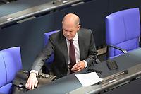 DEU, Deutschland, Germany, Berlin, 29.10.2020: Deutscher Bundestag, Bundesfinanzminister Olaf Scholz (SPD) bei der Regierungserklärung zur Bewältigung der COVID-19 Pandemie.