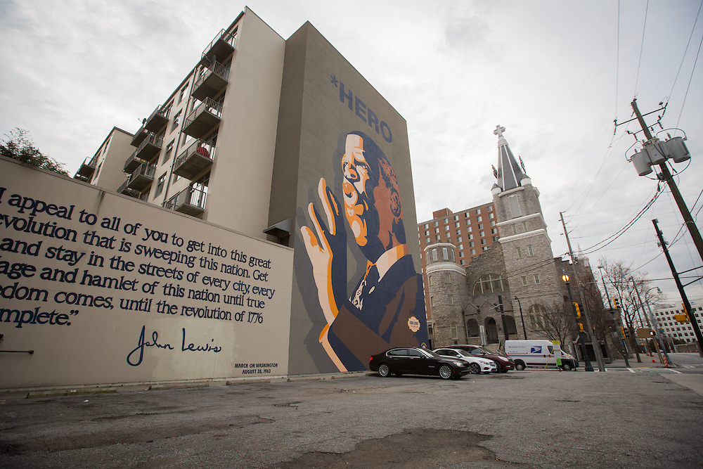 ATLANTA, GA - MARCH 11: A mural for Rep. John Lewis (D-Ga.)in the Old Fourth Ward district is photographed on Thursday, March 11, 2016. Shot to be part of a double exposure project on housing story in Atlanta. (Photo by Kevin D. Liles/For the Washington Post)