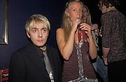 Nick Rhodes and Martha Ward, Tatler magazine Little Black Book party, Tramp. Jermyn St. 10 November 2004. ONE TIME USE ONLY - DO NOT ARCHIVE  © Copyright Photograph by Dafydd Jones 66 Stockwell Park Rd. London SW9 0DA Tel 020 7733 0108 www.dafjones.com