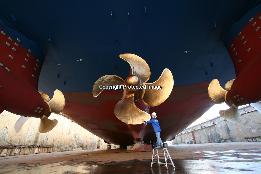 Independence of the Seas gets a finishing polish before being floated for the first time at Aker Yards, Turku, Finland