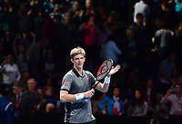 Tennis - 2018 Nitto ATP Finals at The O2 - Day One<br /> <br /> Group Singles Group Lleyton Hewitt: Kevin Anderson (RSA) vs. Dominic Thiem (AUT)<br /> <br /> Anderson celebrates his straight sets victory 6-3, 7-6.<br /> <br /> COLORSPORT/ASHLEY WESTERN