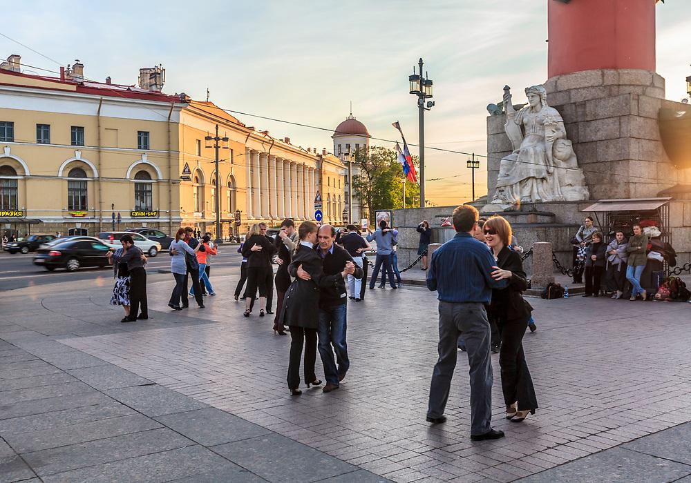 Argentine tango is performed on the Vasilyevsky island in St Petersburg, Russia.
