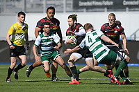 Rugby Union - 2020 / 2021 Greene King IPA Championship - Round Seven - Saracens vs Ealing Trailfinders - StoneX Stadium<br /> <br /> Saracens' Elliot Daly evades the tackle of Ealing Trailfinders' Simon Linsell.<br /> <br /> COLORSPORT