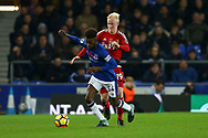 Beni Baningime of Everton shields the ball from Will Hughes of Watford. Premier league match, Everton vs Watford at Goodison Park in Liverpool, Merseyside on Sunday 5th November 2017.<br /> pic by Chris Stading, Andrew Orchard sports photography.