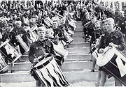 Hitler Youth at a Nazi rally, 1930s.  Massed band of boy drummers.