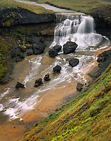 Waterfall along the Fjarthrá River south Iceland, Europe