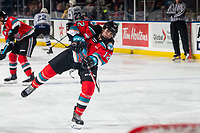 KELOWNA, BC - MARCH 11: Nolan Flamand #12 of the Kelowna Rockets warms up with a shot on net against the Victoria Royals at Prospera Place on March 11, 2020 in Kelowna, Canada. (Photo by Marissa Baecker/Shoot the Breeze)