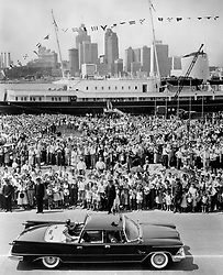 06/07/1959. Queen Elizabeth II and the Duke of Edinburgh, with the Royal Yacht Britannia seen in the background, during the Royal Tour of Canada. The Royal couple will celebrate their platinum wedding anniversary on November 20.