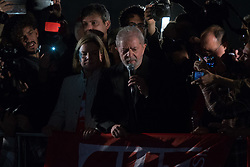 July 20, 2017 - Sao Paulo, Sao Paulo, Brazil - Former Brazilian president LUIZ INACIO LULA DA SILVA speaks during a protest on Paulista Avenue in Sao Paulo against his conviction in Lava Jato operation (money laundering) and asking for direct elections for president. (Credit Image: © Paulo Lopes via ZUMA Wire)
