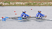 Marathon, GREECE, GRE LW2X, bow, Chrysi BISKITZI and Alexandra RSIAVOU, winning the final of the women's lightweight double sculls, at the FISA European Rowing Championships.  Lake Schinias Rowing Course, SAT. 20.09.2008  [Mandatory Credit Peter Spurrier/ Intersport Images] , Rowing Course; Lake Schinias Olympic Rowing Course. GREECE