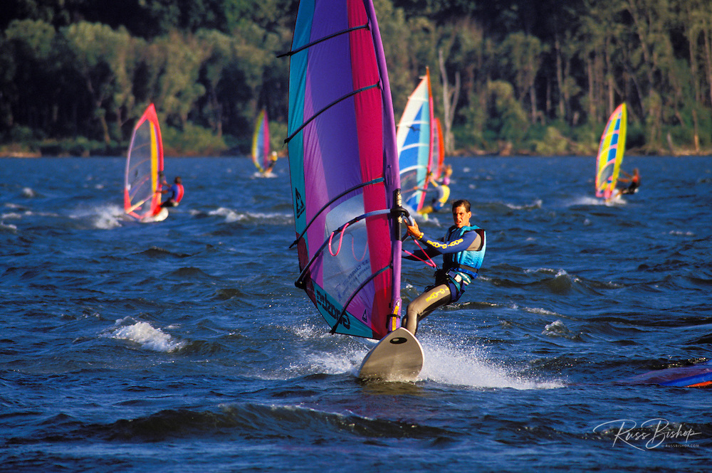 "Windsurfing at ""The Hatchery"", Columbia River Gorge, Washington USA"