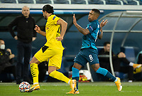 SAINT PETERSBURG, RUSSIA - DECEMBER 08: Amre Can of Borussia Dortmund intercepts the ball from Malcom of Zenit St. Petersburg during the UEFA Champions League Group F stage match between Zenit St. Petersburg and Borussia Dortmund at Gazprom Arena on December 8, 2020 in Saint Petersburg, Russia. (Photo by MB Media)